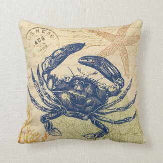 Seaside Blue Crab Collage Pillow