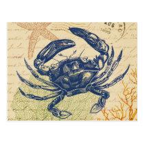 Seaside Blue Crab Collage Postcard