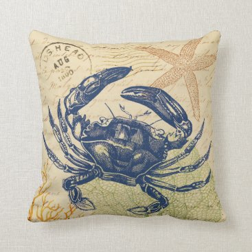 Beach Themed Seaside Blue Crab Collage Throw Pillow