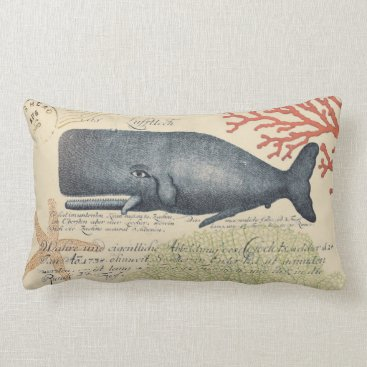 Beach Themed Seaside Blue Whale Collage Lumbar Pillow
