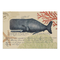Seaside Blue Whale Collage Poster