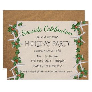 Seaside Celebration Starfish Holiday Party Card