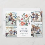 """Seaside   Coastal Holiday Photo Collage Card<br><div class=""""desc"""">Cute coastal themed holiday photo card features four photos in a collage layout, with a watercolor anchor illustration decorated with poinsettia flowers, red starfish and colorful Christmas greenery. """"Seas and greetings"""" appears beneath, along with your names and the year. Add an additional photo and text to the reverse side on...</div>"""