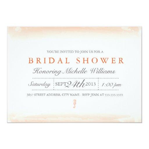 "Seaside Coral Bridal Shower Invitation 5"" X 7"" Invitation Card"