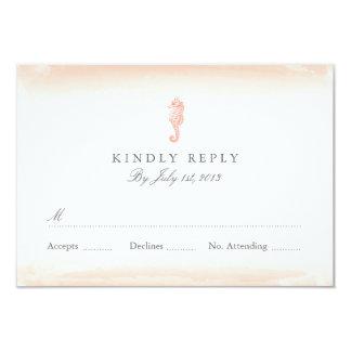 Seaside Coral Wedding RSVP 3.5x5 Paper Invitation Card