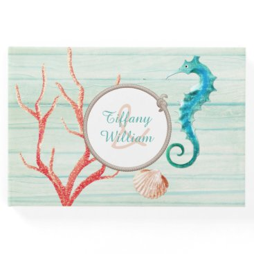 Beach Themed Seaside Cottage Chic Wedding Guest Book