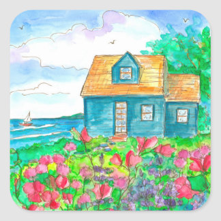 Seaside Cottage Sailing Watercolor Square Sticker