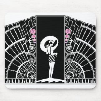 Seaside Deco in Black and Pink Mouse Pad