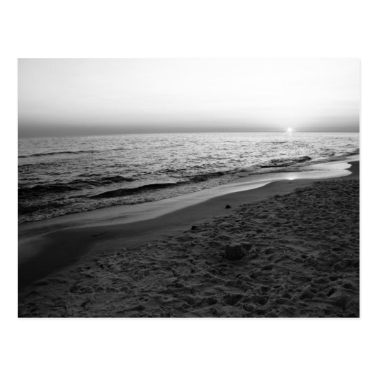 Seaside Florida sunset black & white postcard