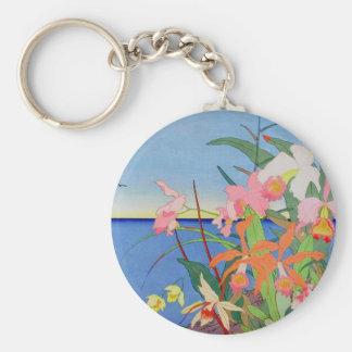 Seaside Flowers Japanese Woodblock Art Ukiyo-E Keychains