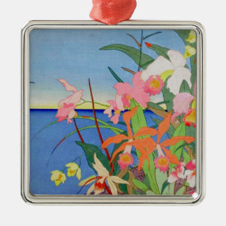 Seaside Flowers Japanese Woodblock Art Ukiyo-E Metal Ornament
