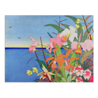 Seaside Flowers Japanese Woodblock Art Ukiyo-E Postcard