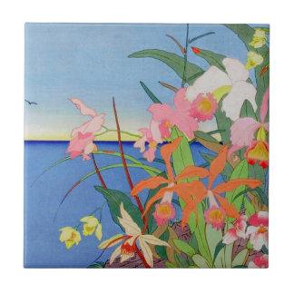 Seaside Flowers Japanese Woodblock Art Ukiyo-E Tile