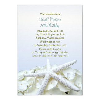 "Seaside Garden Starfish Birthday Party Invitation 4.5"" X 6.25"" Invitation Card"