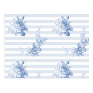 """""""Seaside Garden Stripe"""" postcards in blueberry"""