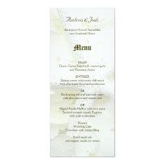Seaside Garden Tall White Starfish Wedding Menu 4x9.25 Paper Invitation Card