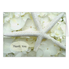 Seaside Garden White Floral Starfish Thank You Stationery Note Card