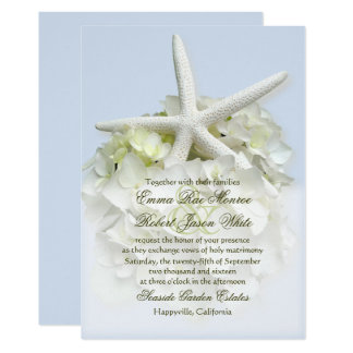 Seaside Garden White Floral Wedding Invitation