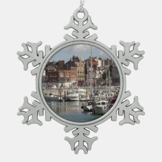 Seaside Harbour And Sailing Boats Snowflake Pewter Christmas Ornament