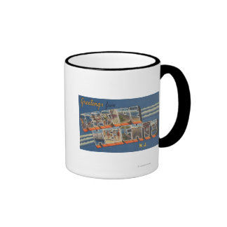 Seaside Heights, New Jersey - Large Letter Scene Ringer Coffee Mug