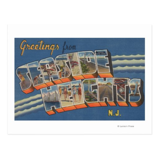 Seaside Heights, New Jersey - Large Letter Scene Post Card