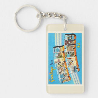 Seaside Heights New Jersey NJ Vintage Postcard- Double-Sided Rectangular Acrylic Keychain