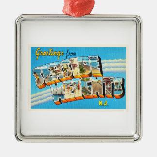 Seaside Heights New Jersey NJ Vintage Postcard- Metal Ornament