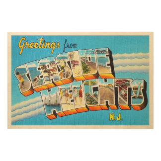 Seaside Heights New Jersey NJ Vintage Postcard- Wood Wall Decor