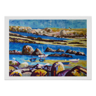 Seaside in Brittany with sailing ships Poster