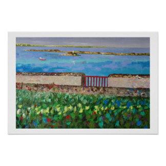 Seaside in Brittany with the red barrier Poster
