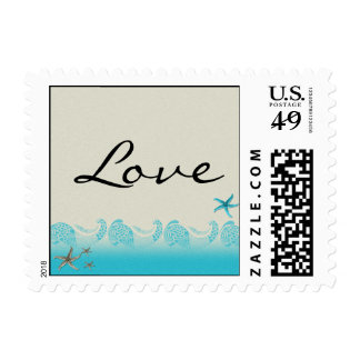 Seaside in Sand and Aqua Postage Stamp Stamps