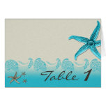 Seaside in Sand and Aqua Table Number Greeting Card