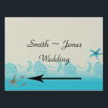 """Seaside in Sand and Aqua Wedding Direction Sign<br><div class=""""desc"""">This beautiful beach design has a sand background with aqua colored water and waves at the bottom. The abstract waves are made of a modern graphic and are flanked by seashells and starfish. This is a great option for your beach theme, destination wedding, or even any time you&#39;d like a...</div>"""