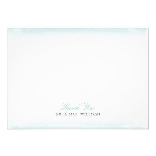 Seaside Monogram Blue Flat Thank You Note Card