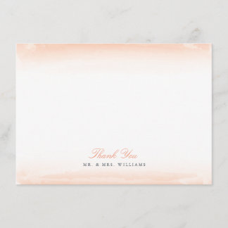 Seaside Monogram Coral Flat Thank You Note Card