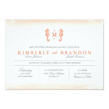 Beach Themed Seaside Monogram Wedding Invitation