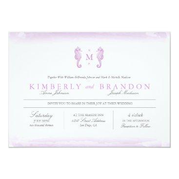 Beach Themed Seaside Monogram Wedding Invitation