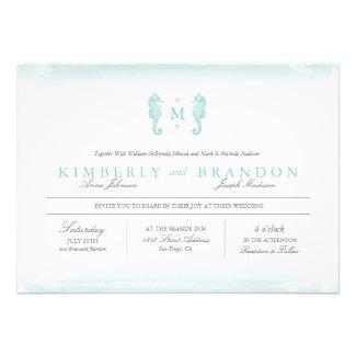 Seaside Monogram Wedding Invitation - Tiffany Blue