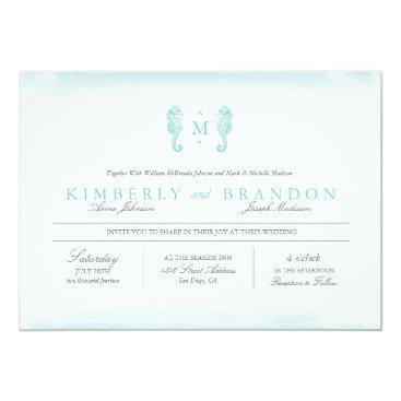 Beach Themed Seaside Monogram Wedding Invitation - Tiffany Blue