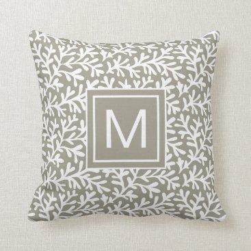 Seaside Nautical Beach | Coral Monogram Throw Pillow