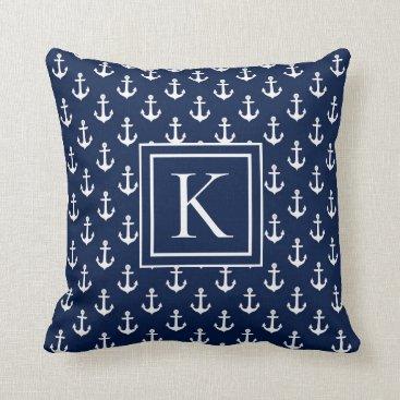Seaside Nautical Beach Monogram Throw Pillow