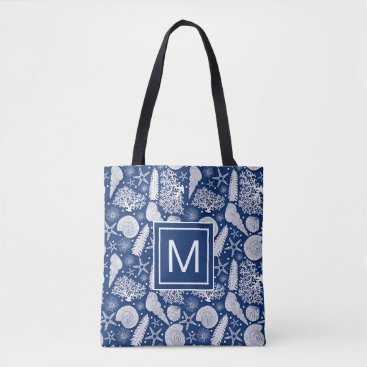 Seaside Nautical Beach | Seashell Monogram Tote Bag