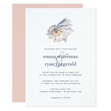 Beach Themed Seaside | Nautical Seashell Wedding Invitation