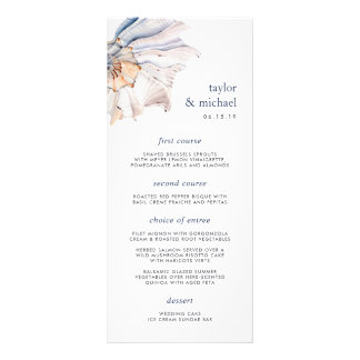 Seaside | Nautical Seashell Wedding Menu Card