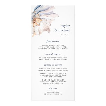 Beach Themed Seaside | Nautical Seashell Wedding Menu Card