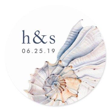 Beach Themed Seaside | Nautical Seashell Wedding Monogram Classic Round Sticker