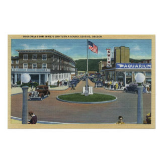 Seaside, Oregon - Broadway from Trail's End Poster