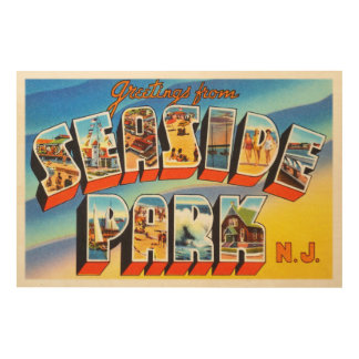 Seaside Park New Jersey NJ Old Vintage Postcard- Wood Wall Decor