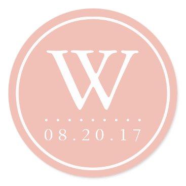 Beach Themed Seaside Pastels Peach Monogram Wedding Date Classic Round Sticker