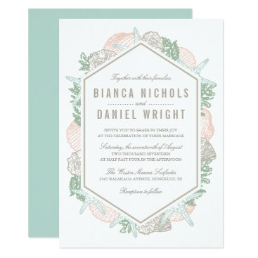 Beach Themed Seaside Pastels Wedding Invitation
